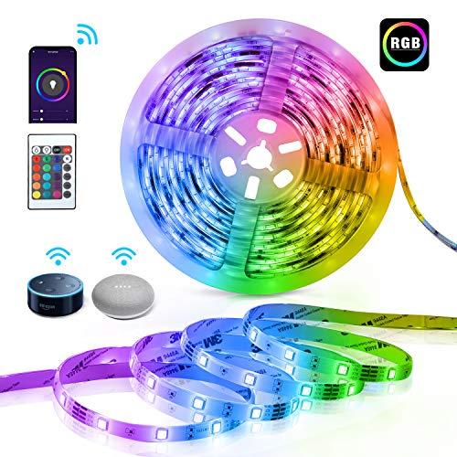 TECKIN Alexa Striscia di luci LED intelligente, 5 metri SMD 5050 RGB LED, con telecomando, striscia...