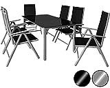 Deuba Sitzgruppe Bern 6+1 Aluminium 7-Fach verstellbare Hochlehner Stühle Tisch mit Sicherheitsglas Silber Garten Set