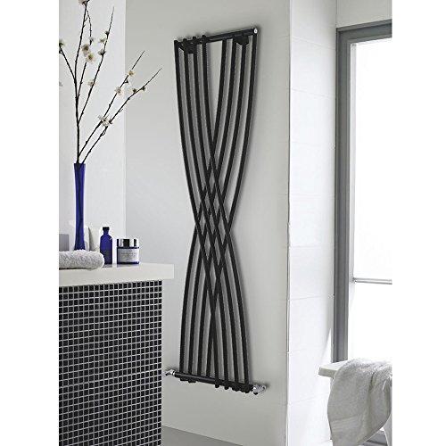 Hudson Reed - Radiateur Chauffage Central Design Vertical - Acier Noir Brillant - 178 x 45cm - Gamme XCITE