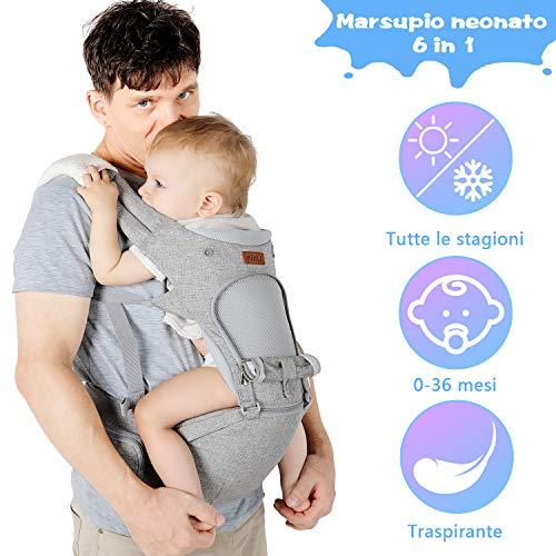 Lictin Marsupio Neonati Ergonomico con Sedile - Marsupio Bimbo con 2 Pezzi Asciugamani Bambini e 1...