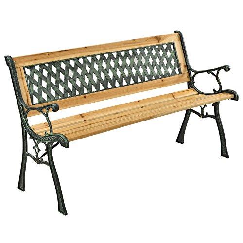 ArtLife 2-Sitzer Gartenbank Pisa aus lackiertem Holz & Gusseisen   naturbelassen   Rückenlehne + Armlehnen   Sitzbank Holzbank Gartenmöbel