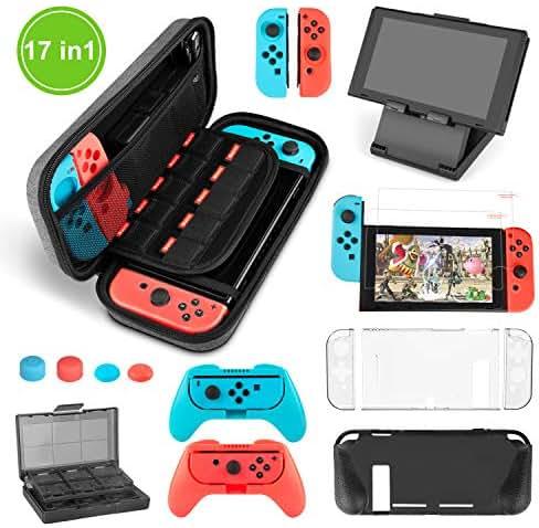 Nintendo Switch Zubehör Set - Younik Beinhaltet Switch Ant Pattern Case / 24+2 Game-Card Case / 6 in1 Silikon Case / TPU Schutz-Case / Verstellbarer Standfuß / 2 Stück HD Displayschutzfolie(17 in 1)