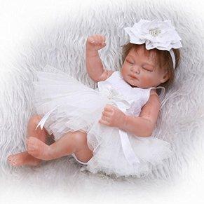 iCradle Reborn Baby Doll Mini Renacer Bebé la Muñeca Simulación de Vinilo Duro de Silicona Boca Magnética Natural Niña Niño Impermeable Bañarse Juguete 10inch /26cm (White)