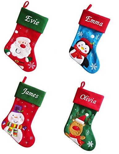 Luxury Deluxe Personalised Embroidered Christmas Santa / Penguin / Snowman / Reindeer Xmas Stocking