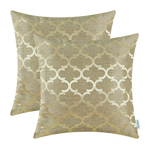 CaliTime, confezione da 2 federe per cuscini, per casa, divano, stile moderno, a contrasto lucido e...
