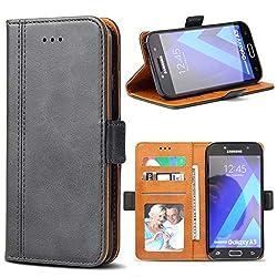 Kaufen Samsung Galaxy A5 2017 Hülle, Bozon Leder Tasche Handyhülle Flip Wallet Schutzhülle für Samsung Galaxy A5 2017 mit Ständer und Kartenfächer/ Magnetic Closure (Dunkel-Grau)