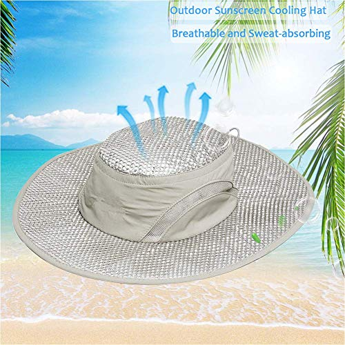 24x7 eMall Summer Cooling Hat Wide Brim Sunscreen Hydro Cooling Sun Cap with Anti UV Feature for Men Women Hot Weather Gardening Yard Beach Outdoor Hiking Fishing Camping