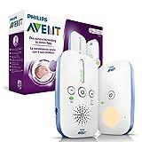 Philips Avent SCD501/00 Audio-Babyphone mit DECT-Technologie, Nachtlicht, Geräuschpegelanzeige,  weiß/blau