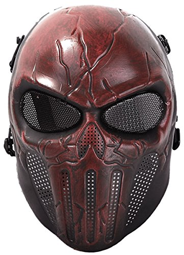 Coxeer Paintball Mask Skull Cosplay Breathable Airsoft Full Face Halloween Mask One Size Dark Red
