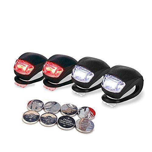 LUZWAY Luci Bici LED, Luce Bicicletta Impermeabile, 4 Pezzi Luci Bicicletta Faretto in Silicone LED Posteriore e Anteriore, Fanali Bici, Batterie Incluse, 2 x Nero (LED Rosso) +2 x Nero (LED Bianco)