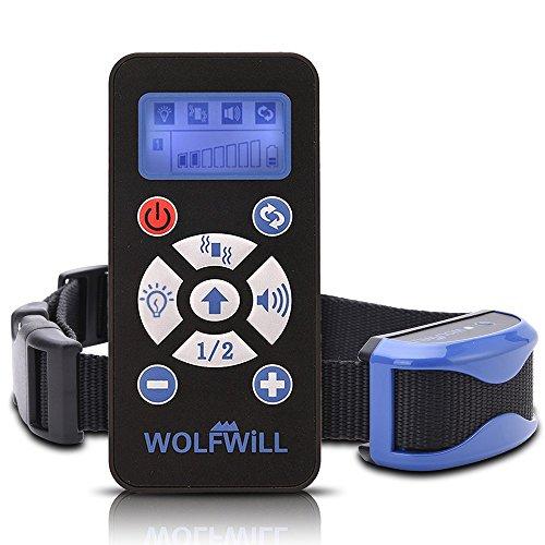 WOLFWILL Collar de Entrenamiento de Perros con Control Remoto,Recargable,Prueba de Agua,7 Niveles de Entrenador,Tono de Advertencia, Vibración, Luz de Señal,Adecuado para Entrenar a su Perro