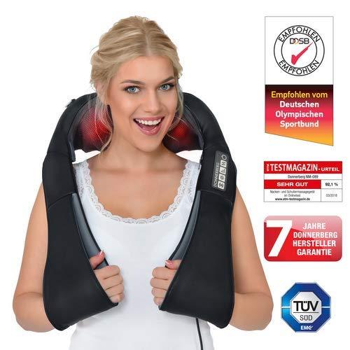 Donnerberg® DAS ORIGINAL Schulter Massagegerät für Nacken Schulter Rücken | Shiatsu Nackenmassagegerät mit Wärmefunktion | 3D-Rotation Massage | TÜV | 7 Jahre Garantie | Haus Büro Auto