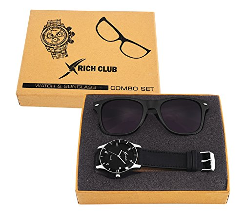 Rich Club RC-605 Casual Analog Black Watch And Wayfarer Sunglass COMBO SET for Men's AND Boy's