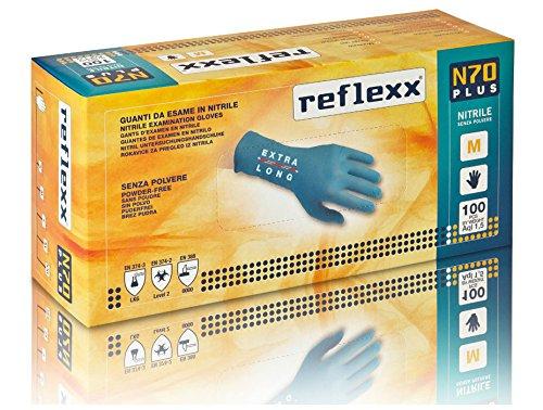 Reflexx N70P, Guanti in Nitrile senza Polvere Extra Lungo 29 Cm, Gr 5.8, 100 Pezzi, Azzurro