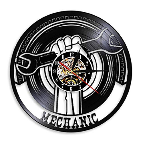 HGXHG Orologio da Parete Vintage Officina Riparazioni Auto Design Moderno Meccanico per Auto Servizio Dischi in Vinile con Colori Orologio da Parete Decorazioni per La Casa 5