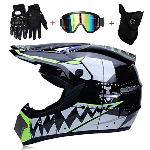 NJMSC Moto Motocross Caschi e GUANTI e occhiali DOT bambini Quad Bike di serie ATV Go Kart del...