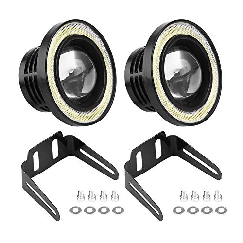 EBTOOLS 2Pcs fari antinebbia angel eyes,Luci anabbaglianti per veicoli commerciali con luci diurne a LED da 25W(2.5')