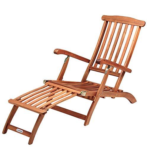Sonnenliege Queen Mary | Akazien Holz Verstellbar Fußsegment klappbar | Sonnenstuhl Deckchair Garten Liegestuhl Liege