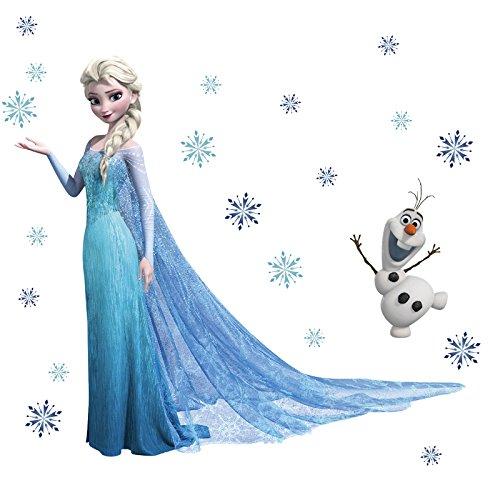 sticker mural elsa de la reine des neiges olaf en papier peint d coration murale pour enfant. Black Bedroom Furniture Sets. Home Design Ideas