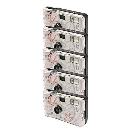 TopShot - Confezione 5 fotocamere usa e getta per nozze Love con flash, 27 foto, colore: Bianco