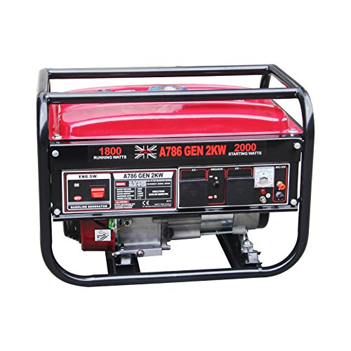 Dirty Pro Tools Generador de gasolina 2000 W motor de cobre 2 KVA/2 KW 5,5 HP DC generador de gasolina – 110 V/230 V/12 V/50 HZZA