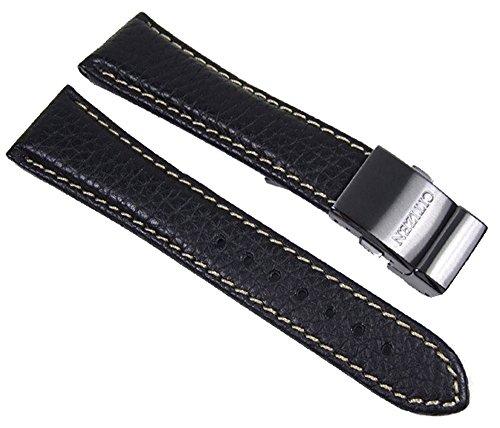 Citizen, cinturino di ricambio per orologio, in pelle, con fibbia in titanio, 22 mm, per AS4035