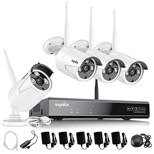 SANNCE Kit Telecamera Videosorveglianza WiFi NVR 8 Canali 4 Wireless Kit di Sorveglianza 960P Videocamera Senza Fili Esterno Visione Notturna Motion Detection P2P IP66 senza HDD