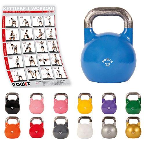 POWRX - Kettlebell Professionale 4-28 kg - (12 kg/Blu)