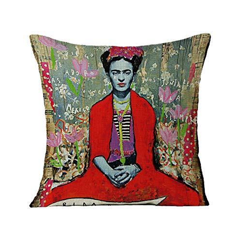 FEIRAN 3D Impreso Frida Kahlo Autorretrato Funda de Almohada Funda de cojín para Sofá Coche Decoración para el hogar 16 45X45cm