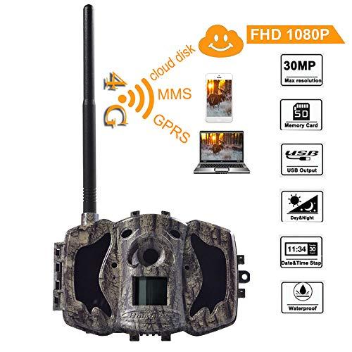 BolyGuard 4G cellulaire 30MP 1080P HD Caméra de chasse la faune Scouting GPRS MMS GSM SMS Vision nocturne numérique Infragouge IP65 Water Protected Design (MG984G-30M)