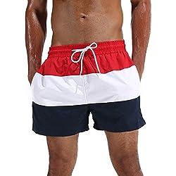 Arcweg Bañador Hombre Chico Playa Poliéster Pantalon Corto Hombre Deporte Secado Rápido Bañadores Natacion Ligero Moda Shorts Rojo Etiqueta XL