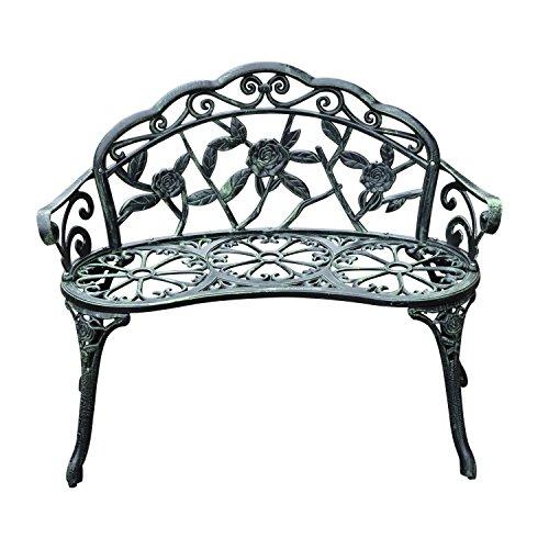 Outsunny Cast Aluminium Outdoor Garden Patio Antique Rose Style Bench Porch Park Chair Seater - Green
