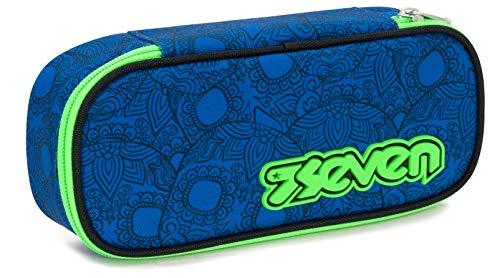 Bustina Round Plus Seven Colorsnake, Blu, Scomparto attrezzato porta penne, 23 cm