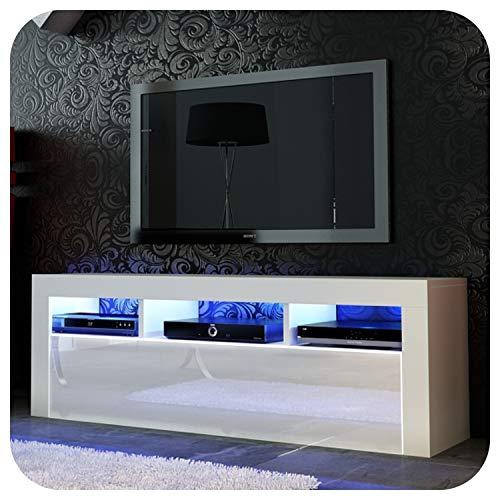 Nuovo! Superbo mobile porta TV 130 cm + nero o bianco + anta in acrilico lucido +...