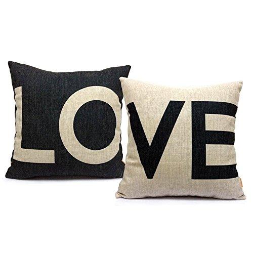 Gspirit federe coppia Couple LO & VE 2 pack cuscini per divani love Decorativo Cotone Biancheria Cuscino copricuscini divano Caso Federa per cuscino 45x45 cm, (1)