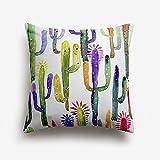 Funda Cojin Cactus Diseño Pintura Acuarela Multicolor
