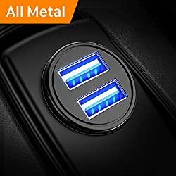 Kaufen Auto Ladegerät, Mini USB Auto Adapter KFZ Ladegerät 2-Port 24W 5V / 4.8A mit Aluminium-Legierung Gehäuse für Phone X / 8/7 / 6s / Plus, iPad Air / Mini, Galaxy S8 / S7 / Edge / Plus , Hinweis 5/4, LG, Nexus, HTC und Mor by DIVI (Schwarz)