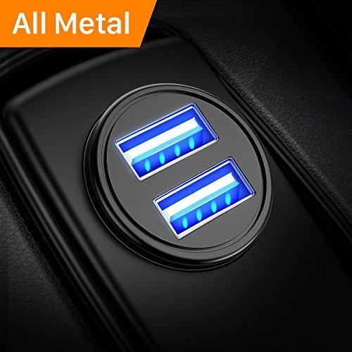 Caricabatteria auto USB, 4.8A Caricatore adattatore universale Caricabatterie da auto 2 Porte Super...