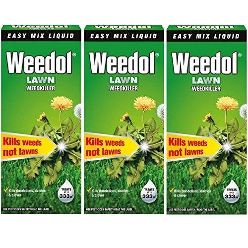 3x Weedol/Verdone Extra césped herbicida mata las malas hierbas 500ml Treats 333M2jardín nuevo (total 1.5L 1,5litros)