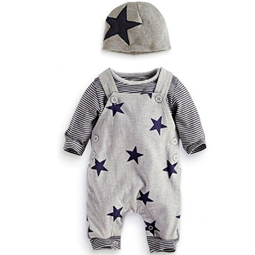 maruxiong Newborn Baby Boy Strampler Star Bekleidungssets Hosen-Tops-Hut Niedlich Overall Romper Outfit Bodysuit (9-12, grau)
