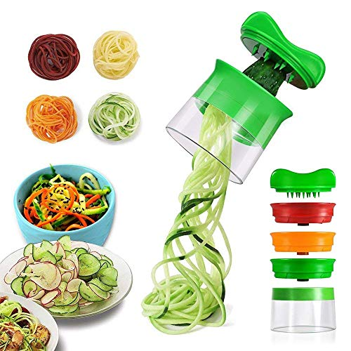 YOTINO 3-Blade Hand Held Spiralizer Vegetable Noodle Maker Includes 3 Different Stainless Steel Blades in Assorted and 1 Cleaning Brush