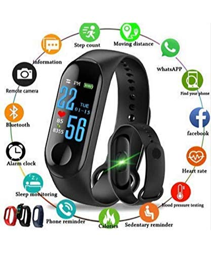Global Craft M3 Fit Band Activity Tracker Heart Rate Monitor, Sleep Monitor, Calore Burned OLED Display Activity Tracker Bracelet Wristband USB Charging for Android iOS (Black) Model 24979