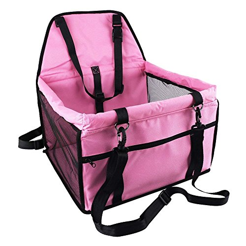 SRI Deluxe Portable Pet Dog Booster Car Seat with Clip-on Safety Leash and Zipper Storage Pocket Perfect for Small and Medium Pets to 30 lbs (Pink)