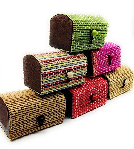 DAISYLIFE™ Handmade Bamboo Wooden Jewelry Box Organizer Storage Set   Home Decor Showpiece   Best Gift Idea - Set of 6