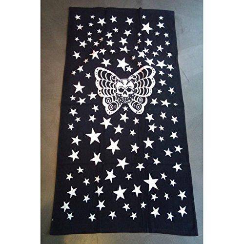 Inconnu-Toalla de Playa Crane Mariposa Negro Blanco diseño de Calavera