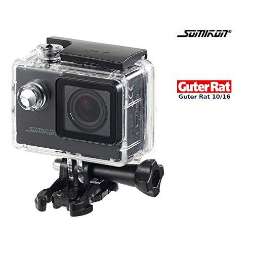 Somikon Action Camera: Einsteiger-4K-Action-Cam, WLAN Full HD (60 fps) mit Unterwassergehäuse (Helmkamera)
