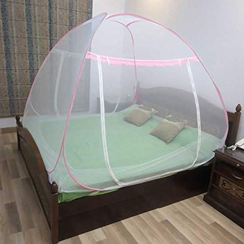 Healthgenie Foldable Mosquito Net for Double Bed (King Size) - Pink