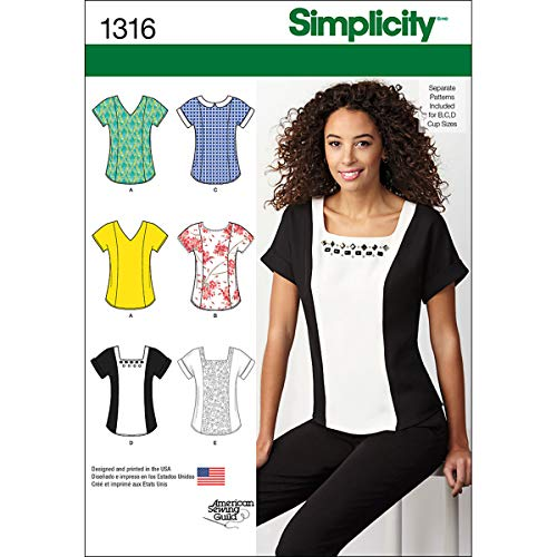 Simplicity American Sewing Guild Pattern 1316 Misses Top with Neckline Variations Sizes 6-8-10-12-14