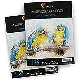 """2 x Bloc Acuarela para Pinturas Acuarelas - Formato A4 (9"""" x 12"""") - 2 x 32 Hojas Blancas 300 gr - Lote de 2 Cuadernos Acuarela de Papel de Acuarela para Artistas y Ocios Creativos"""