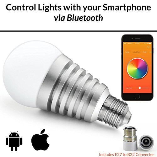 Mansaa SmartShine - Bluetooth Wireless Smart LED Bulb - (9W, E27, Silver Body)